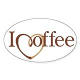 I Heart Coffee Oval Decal