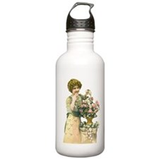 Retro Girl with Flower Water Bottle