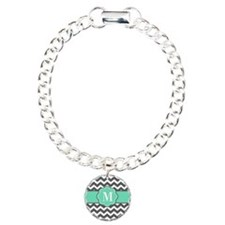 Gray Teal Chevron Monoagram Bracelet