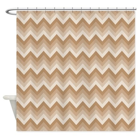 Chevron Striped Brown And Tan Shower Curtain By