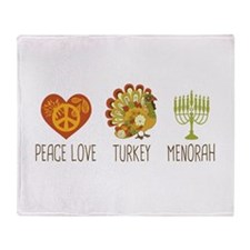 Peace Love Turkey Menorah Throw Blanket