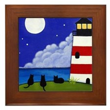 Lighthouse Black CATS Framed ART Tile