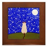 Siamese CAT On A Starry Night Framed ART Tile