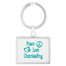 Peace Love Cheerleading Landscape Keychain