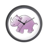 Purple Rhino Wall Clock
