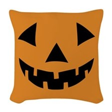 Jack-o-lantern Pumpkin Woven Throw Pillow
