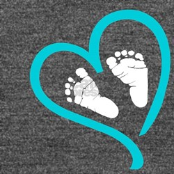 Baby Feet Heart Blue Long Sleeve Maternity T-Shirt
