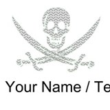 Custom Grey Herringbone Bricks Calico Jack Skull W