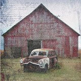 Old Abandoned Car in Front of Barn Shot Glass