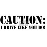 Caution I Drive Like You Do Mug