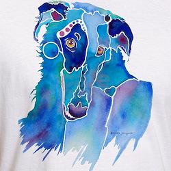 Borzoi Head in Blue Shirt