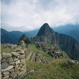 Incan ruins at Machu Picchu, Andes Moun Shot Glass