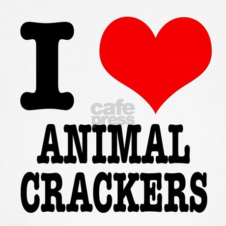 I Heart (Love) Animal Crackers Throw Pillow by dirtyjerzey