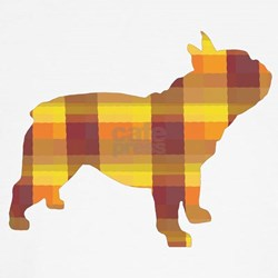 plaid french bulldog T