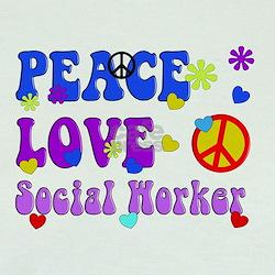 Social worker peace love 3 T-Shirt