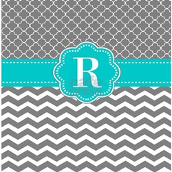 Gray Blue Chevron Monogram Shower Curtainheight250