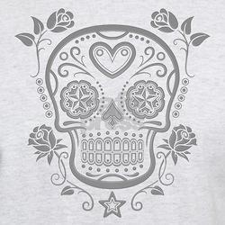 Gray Sugar Skull with Roses T-Shirt