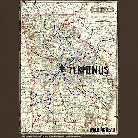 Walking Dead Terminus Map T Shirt by The Walking Dead
