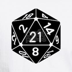 21 Sided 21st Birthday D20 Fantasy Gamer Die T-Shi