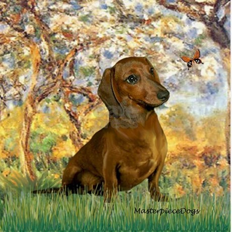 Spring Dachshund Wall Clock By Masterpiecedogs