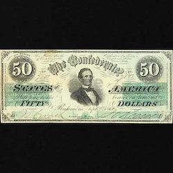 Confederate $50 Bill T