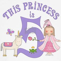Unicorn Princess 5th Birthday T-Shirt