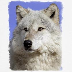 White Wolf on Blue Tee