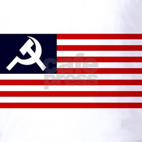 Ussr Flag Black And White Soviet America Flag T-...