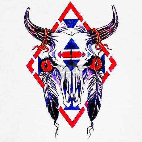 buffalo skull tattoo front shirt by tattooartshirts. Black Bedroom Furniture Sets. Home Design Ideas