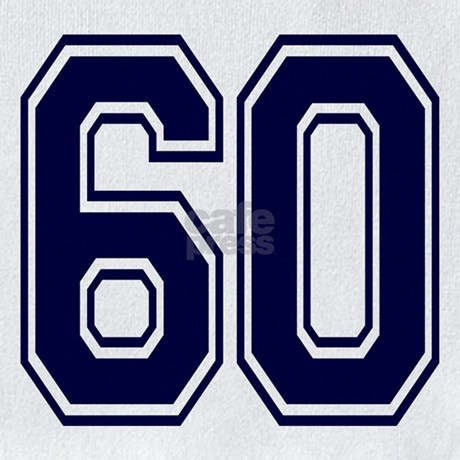 NUMBER 60 FRONT Bib by AtoZNumbers