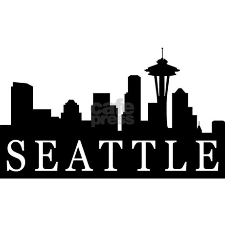 Seattle Skyline Rectangle Decal by brainburst