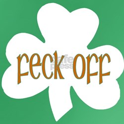 Feck Off Men's White/Green Fitted T-Shirt