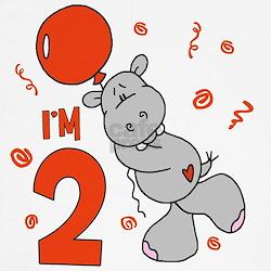 Hippo Balloon 2nd Birthday T
