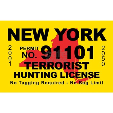 New york terrorist hunting license decal by cafestickers for Nys fishing regulations