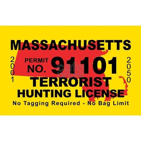 Massachusetts terrorist hunting license decal by cafestickers for Fishing license ma