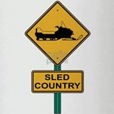 Sled Country Road Sign Pint Glass