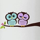 Lovely Owl Couple Drinking Glass
