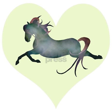 blue moon horse & hearts Car Magnet 20 x 12 by fantasyhorseart