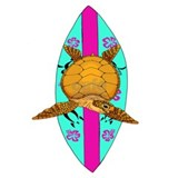 Surfing sea turtle Posters