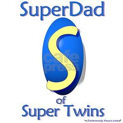 Super Dad of Super Twins Ash Grey T-Shirt