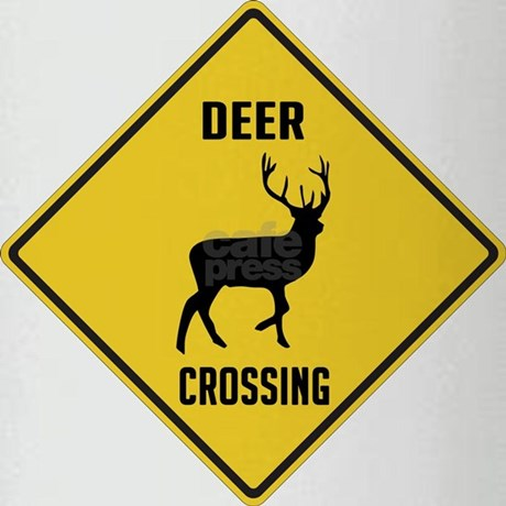 Deer Crossing Sign Drinking Glass by cafepets