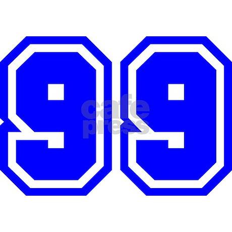 Varsity Uniform Number 99 (Blue) Mug by bluegreenred
