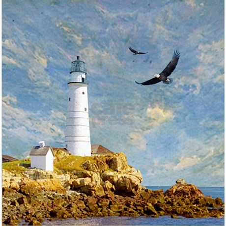Rocky Lighthouse and Eagles Shower Curtain by retroranger