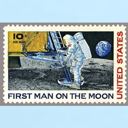1969 First Man On The Moon Stamp T-Shirt