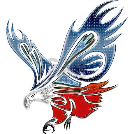 Eagle Tattoos on Metallic Grunge Eagle Tattoo Ornament  Round  By Digitalrealityart1