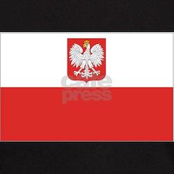 Black T-Shirt with Poland National Flag