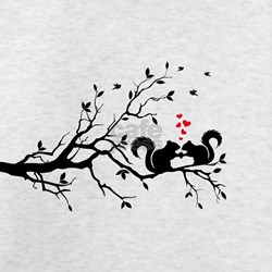 Squrrels with red hearts on tree branch T-Shirt