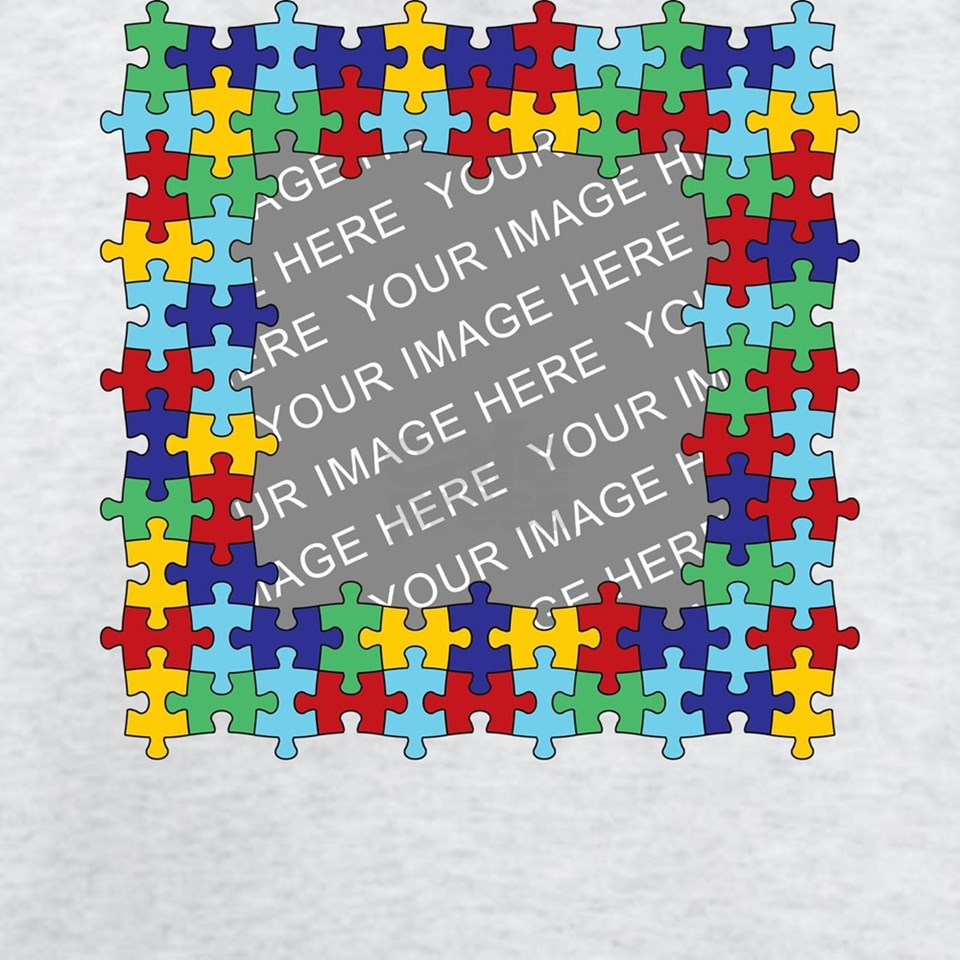 CUSTOM PHOTO Autism Awareness Puzzle Border T Shir by ADMIN_CP3269