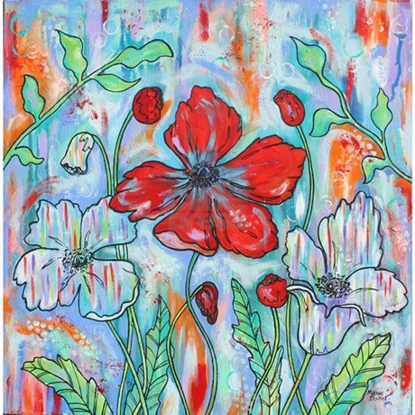Red Poppy Floral Shower Curtain by Melanie Douthit by