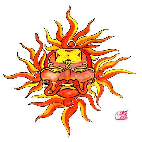 mayan sun god tattoo design by reddragondesign. Black Bedroom Furniture Sets. Home Design Ideas